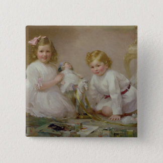 A Brother and Sister Playing, 1915 Pinback Button