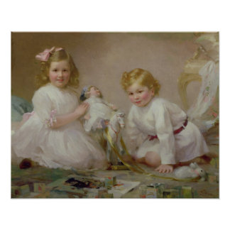A Brother and Sister Playing, 1915 Poster