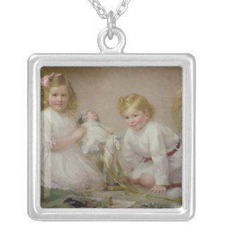 A Brother and Sister Playing, 1915 Silver Plated Necklace