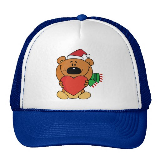 A brown bear holding a red heart mesh hat