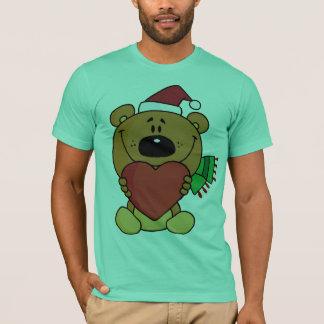 A brown bear holding a red heart T-Shirt
