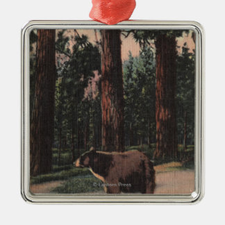 A Brown Bear in the Woods Metal Ornament