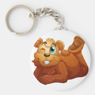 A brown bear basic round button keychain
