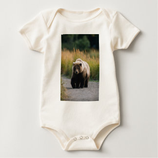 A Brown Bear Walking on a Trail Baby Bodysuit