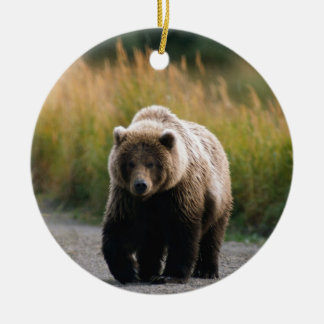 A Brown Bear Walking on a Trail Ceramic Ornament