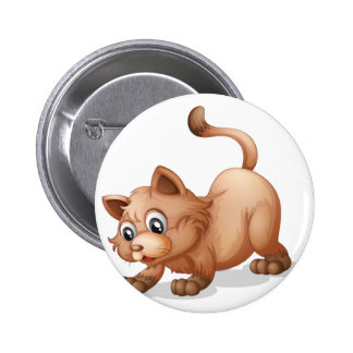 A brown cat 2 inch round button