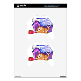 A brown dog outside the doghouse xbox 360 controller skin