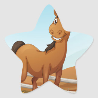 A brown horse near the fence star sticker