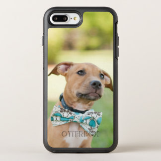 A Brown Puppy Wears A Colorful Bow Tie OtterBox Symmetry iPhone 8 Plus/7 Plus Case
