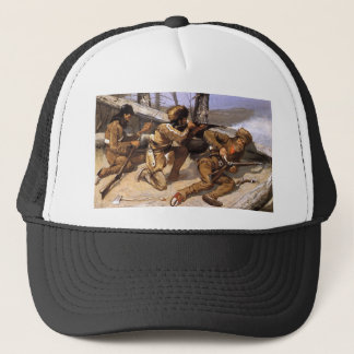 A Brush with the Redskins by Frederic Remington Trucker Hat