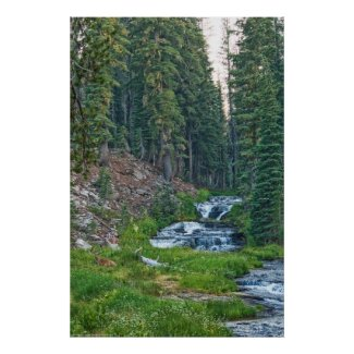 A Buck Rests at a Cascading River Poster