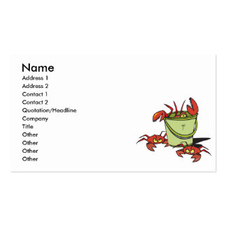 a bucket of angry crabs business card
