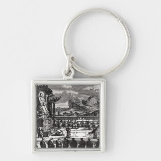 A Buddhist Ceremony from, 'Indiae Orientalis' Silver-Colored Square Keychain