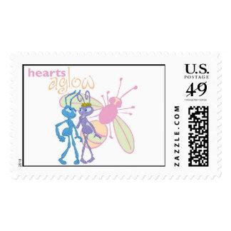 A Bug's Life Princess Atta and Flik Hearts Aglow Stamp