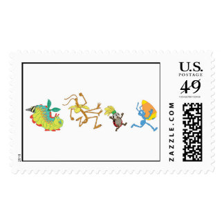 A Bug's Life's characters chase after candy corn Postage Stamp