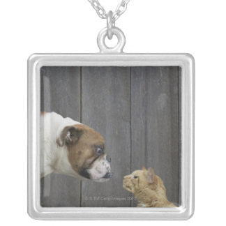 A Bulldog and a cat are face-to-face in a stand Silver Plated Necklace