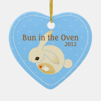 a BUN in the oven (blue) Ceramic Ornament