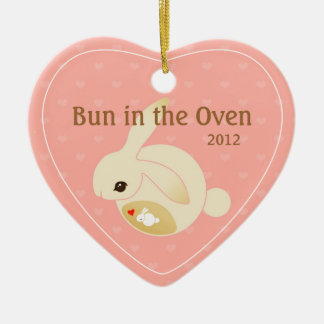a BUN in the oven (pink) Ceramic Ornament