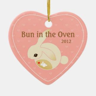 a BUN in the oven (pink) Ceramic Ornament