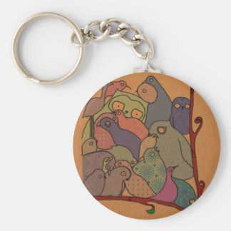 a bunch of birds in blue mosaic keychain