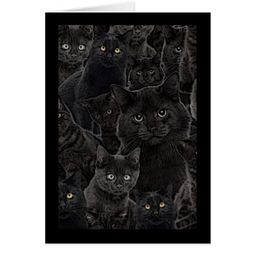 Halloween Themed A Bunch of Black Kitty Cats Greeting Card