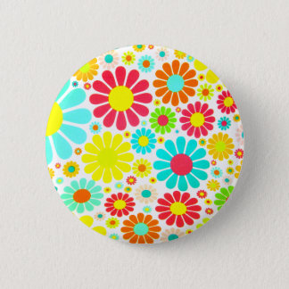 A Bunch of Colorful Daisies Button