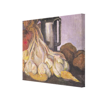 A Bunch of Garlic and a Pewter Tankard Stretched Canvas Print