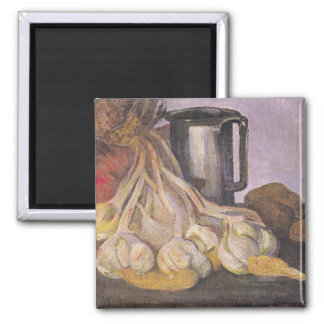 A Bunch of Garlic and a Pewter Tankard Fridge Magnet