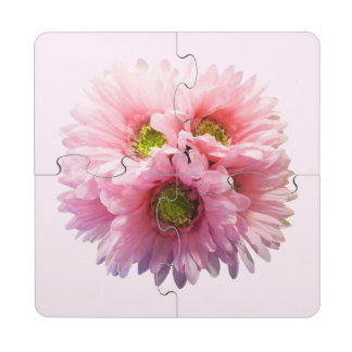 A Bunch of Pink Daisies Puzzle Coaster