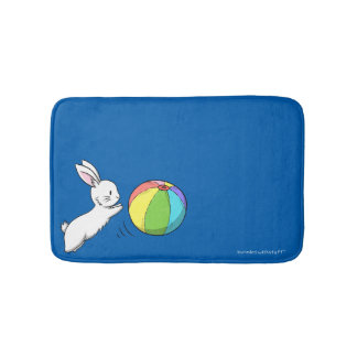 A bunny and a ball bathroom mat