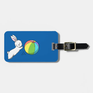A bunny and a ball luggage tag