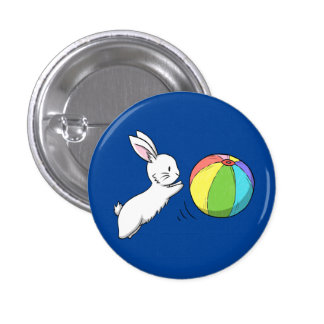 A bunny and a ball pinback button