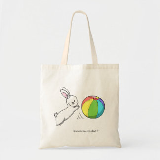 A bunny and a ball tote bag
