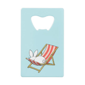 A bunny and a deckchair credit card bottle opener