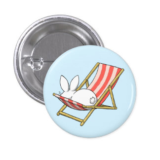 A bunny and a deckchair pinback button