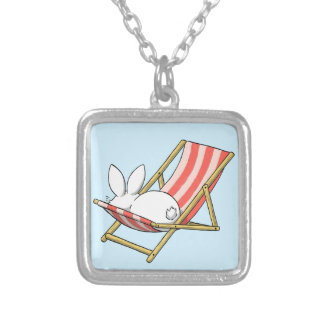 A bunny and a deckchair silver plated necklace