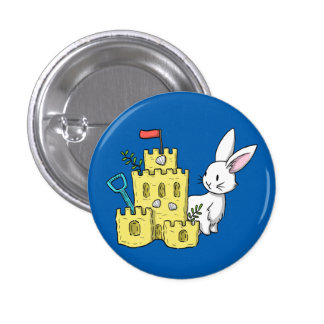 A bunny and a sandcastle button