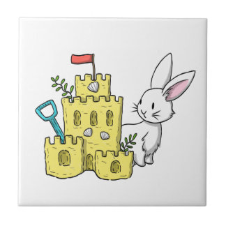 A bunny and a sandcastle ceramic tile