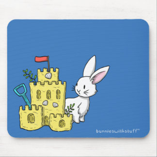 A bunny and a sandcastle mouse pad