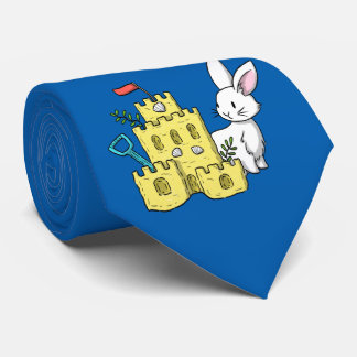 A bunny and a sandcastle neck tie