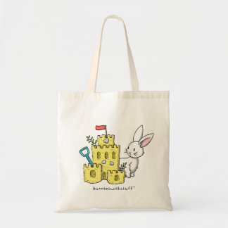 A bunny and a sandcastle tote bag