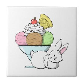 A bunny and an ice cream ceramic tile