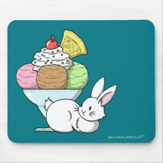 A bunny and an ice cream mouse pad