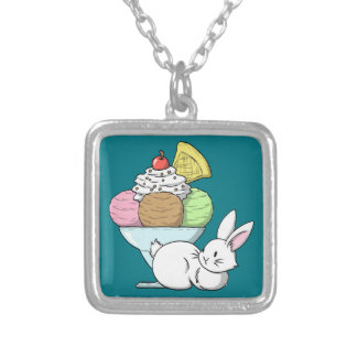 A bunny and an ice cream silver plated necklace