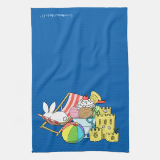 A bunny at the beach towel