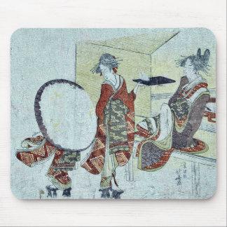 A bunny in front of tea shop by Katsushika,Hokusai Mousepad