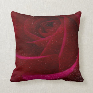 A Burgundy Rose in Snow Throw Pillow