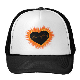 A Burning Thing Fire Heart Mesh Hat