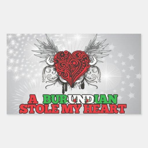 A Burundian Stole my Heart Rectangle Sticker