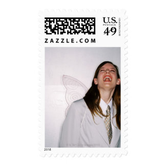 a business woman wearing angle wings and postage stamps
